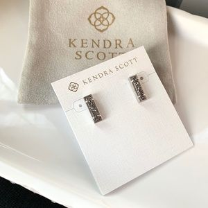 NWT Kendra Scott Rhodium plated drusy earrings